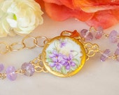 Antique Victorian Porcelain Violets Brooch with Semi Precious Amethyst & Gold Vermeil Bracelet