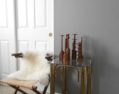 mid century hollywood regency gold metal side table with glass top / table lamp / end table / corner table