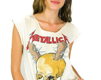 Vintage Metallica shirt 1980s Tour Damaged Inc. Heavy Metal Rocker Rock N Roll Soft Thin Hippie Boho Metal tee Band tee concert shirt