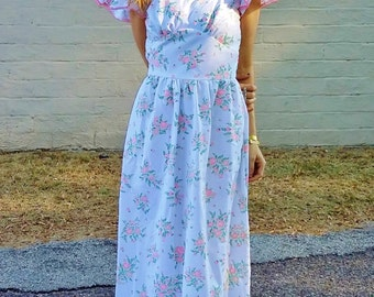 floral bohemian hippie wedding dress 1970s retro bride beach wedding dress pink floral garden party festival petite fit retro prom dress