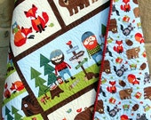 Lumberjack Quilt, FLANNEL Baby Boy Bedding, Woodland Forest, Bears Fox, Outdoor Nature, Nursery Crib Blanket, Reversible, Ready to Ship