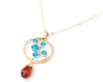 Blue Apatite Necklace, AAA Hessonite Garnet & Electric Blue Apatite Circle Necklace, Gold Apatite Circle Pendant