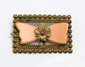 Vintage Yellow Butterscotch Bakelite and Brass Metal Pin Brooch