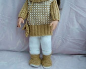 """Doll clothes hand knitted to fit 18"""" dolls."""