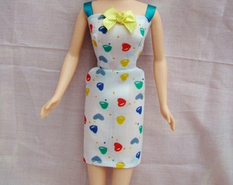 "Handmade 11.5"" Fashion Doll Clothes. Heart print dress with straight skirt to fit 11.5"" type dolls."