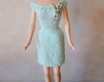 """Handmade 11.5"""" Fashion Doll Clothes. Pale green knitted dress with bow trim."""