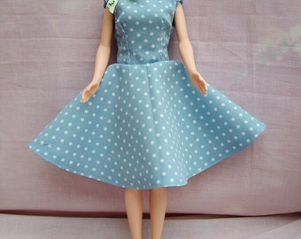 "Handmade 11.5"" Fashion Doll Clothes. Full circle skirt with a fully lined bodice dress."