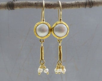 24k Fine Gold Earrings - Pearls Earrings - Wedding  Earrings - Fine Jewelry - Dangle Solid Gold Earrings