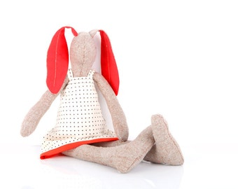 Rabbit Stuffed , Animal Doll , Soft Sculpture , Soft Toy, fawn woven silk Bunny Doll, Cloth Doll, Rag Doll, Fabric Doll, Plushie Softie doll
