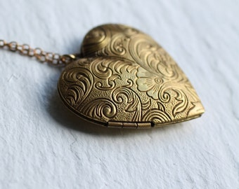 Heart Locket... Vintage Brass Big Old Plain Locket