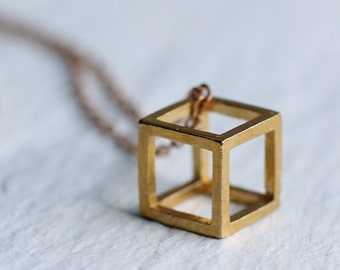 Cube Necklace ... Geometric Vintage Brass Modern Industrial