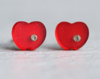 Red Apple Stud Earrings ... Vintage Red Frosted Glass Post Earrings