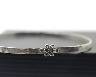 Celtic Knot Bangle, Hammered Sterling Silver Band, Women's Dainty Charm Stacking Bracelet