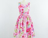 ON SALE  Floral bridesmaid dress, floral dress, cotton dress,bust size 36""