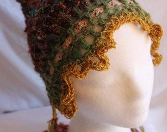 Acorn Woodland ELF BEANIE Sari Yarn Felt and Lace
