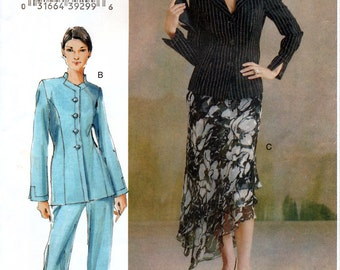 Vogue V8047 Sewing Pattern for Misses' / Misses' Petite Jacket, Skirt and Pants - Uncut - Size 8, 10, 12