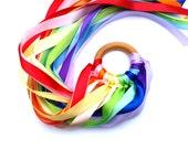Twelve Color Ribbon Kite Double Rainbow Whirligig Twirling HandKite