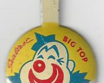 Clown Sealtest Big Top TV Circus Vintage Green Duck Co. Tab Back Button Pin, C1950s