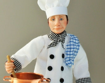 Lorenzo the Chef, hand sculpted miniature dollhouse doll in 1/12th, one inch scale, ooak