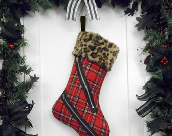 Punk Christmas Stocking Red and Black Plaid Bondage Pants Style