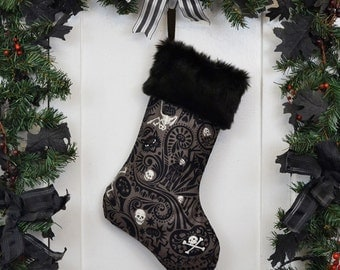 Goth Punk Christmas Stocking Midnight Muertos Halloween Skeletons Pumpkins Charcoal/Black