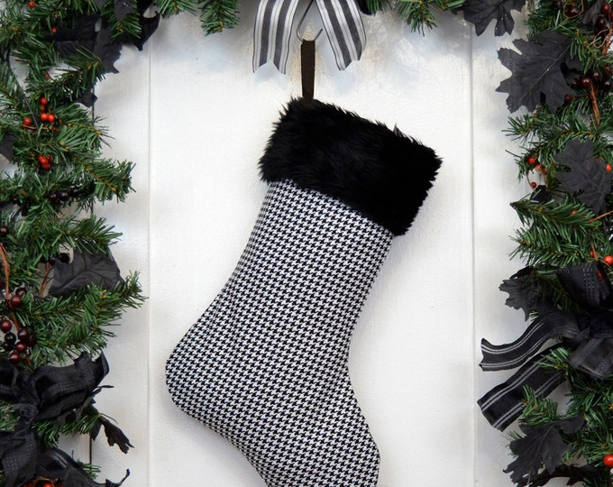 Black and White Houndstooth Christmas Stocking with Black Faux Fur