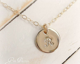 SET of 4, Personalized, Bridesmaid Gift, 14K Gold Filled, Hand Stamped, Initial Necklace, Small Disc, Monogram, Bridesmaid Necklace, Custom