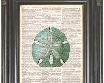 Blue sand dollar print on dictionary or music page COUPON SALE Dictionary or music art print wall decor Digital print Marine art  No 2068
