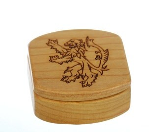"Holland Wooden Box, Solid Cherry, 1-3/4""L x 1-7/8""W x 7/8""D, Pattern MS52 Dutch Lion, Paul Szewc"