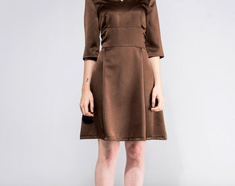 SAMPLE SALE! Size M 50s Retro party brown dress Mad men dress Mod tea dress retro vintage