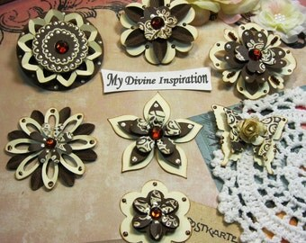 Basic Grey Hello Luscious Brown and Ivory Paper Embellishments and Paper Flowers for Scrapbooking Cards Mini Albums Tags and Papercrafts