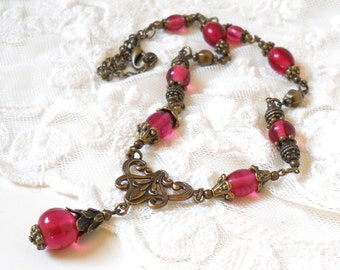 pink victorian necklace pink pendant necklace pink jewelry bronze and pink necklace pink jewelry brass necklace pink filigree necklace