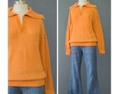 70s Sweater - Mod Sweater - Orange Sweater - Collageman 1970s Sweater - Wing Collar Pullover Sweater - Indie Boho Hippie Sweater S/M