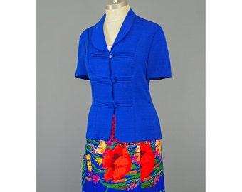 SALE - Blue Blazer Short Sleeve Jacket 80s Blazer Pintuck Pleated Blue Blouse Short Sleeve Blazer 1980s Blazer Blue Jacket