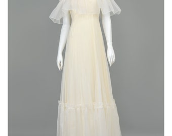 25% OFF - 70s Gown Cream Organza Dress Off Shoulder Champagne Evening Dress Long Formal Dress 1970s Evening Gown Bohemian Wedding Dress