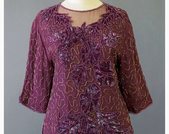SALE - 80s Beaded Blouse Sequin Top Plum Burgundy Silk Chiffon Blouse Embellished Top Beaded Top Formal Evening Wear Silk Blouse