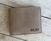 Men's Leather Wallet Engraved Personalize monogram guy gift valentines day christmas dad husband brother groomsmen groom wedding present