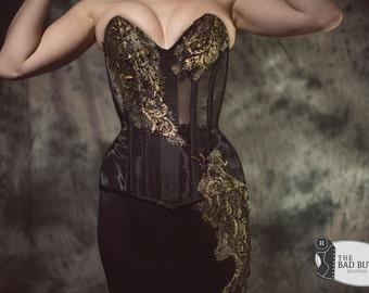 Midas / Sheer Corset / Steel Boned Sheer Crystal Silk Luxury Bridal Wear