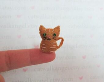 Felt Miniature - Felted Miniature Orange Tabby kitten- Felted tabby kitty - orange Tabby - cat miniature - tiny kitty - tiny cat