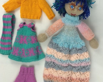 Blue-haired knitted doll with extra clothes