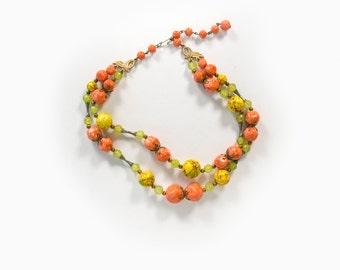 Vintage 60's Mod Beaded Necklace Women's Jewelry / Costume Jewelry