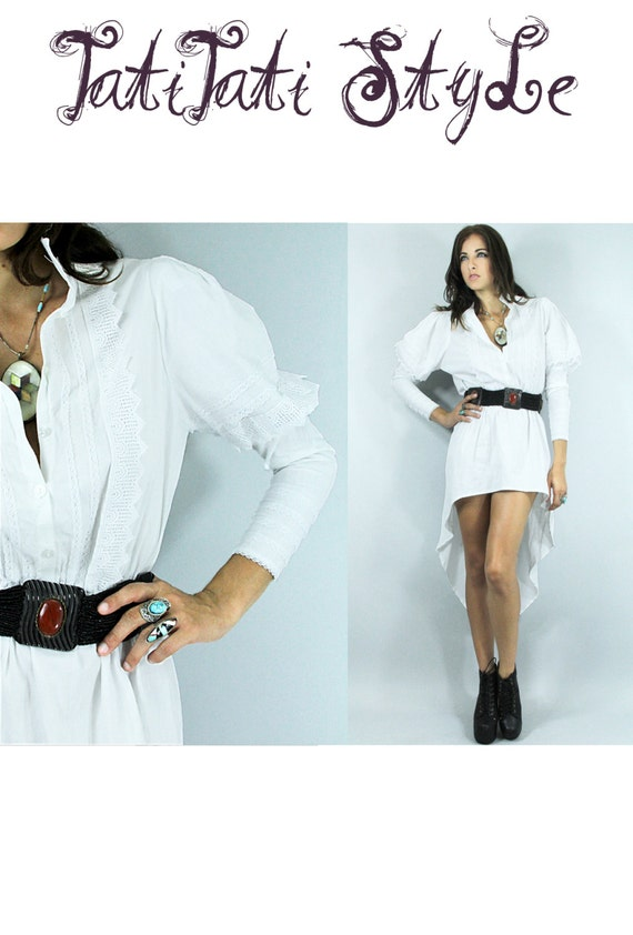 Vintage Lace White Hi-Low Shirt Dress Bohemian POET Sleeves // Vintage Clothes by TatiTati Style on Etsy