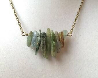 Green Kyanite Boho Bronze Necklace, Stone Spear Row Pendant, Gemstone Jewelry