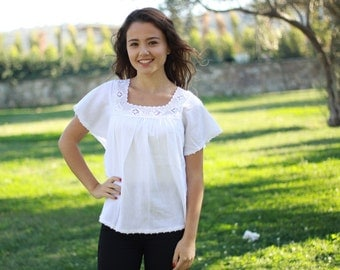 Womens blouses, White cotton top womens, White blouses, Cotton boho blouse, Cotton summer top, White cotton blouses, Women cotton blouse