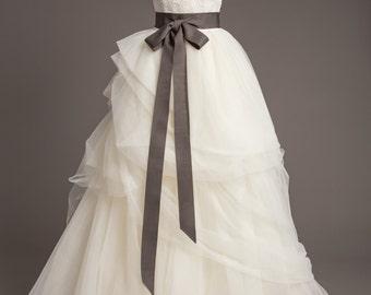 "Deep Gray Wedding Sash - 2"" - Romantic Luxe Grosgrain Ribbon Sash -  Wedding Belt, Bridal Sash, Bridal Belt - Wedding Dress Sash"