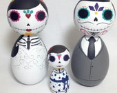 Day of the Dead Sugar Skull Famiy Kokeshi Doll Wedding Cake Toppers