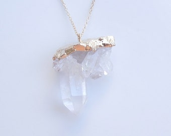 Quartz Drusy Necklace in Gold - OOAK Jewelry