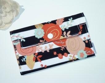 Coupon Holder / Cash Wallet / Receipt Holder - Black & White Stripe. Floral in Mint, Coral, Gold