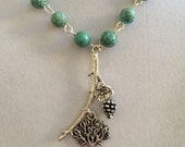Tree of Life, Silver Branch and Turquoise Necklace