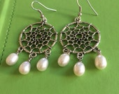 Bridal Design Silver and Pearl Earrings